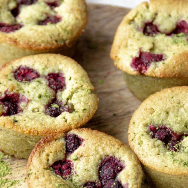vegan gf matcha friands muffin